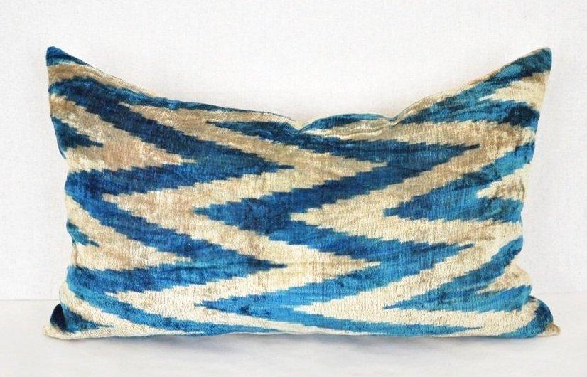 Silk Velvet Ikat Pillow ~Mineral Blue