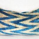 Silk Velvet Ikat Pillow ~Mineral Blue
