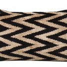 "BLACK ON BEIGE SILK VELVET ""ZIGZAG"" IKAT ACCENT PILLOW"