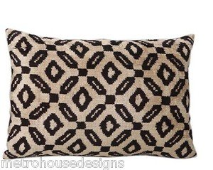 HAND LOOMED VINTAGE SILK VELVET IKAT ACCENT PILLOW ~ GRAPHITE ON BEIGE
