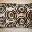 SILK AND COTTON VELVET IKAT ACCENT PILLOW