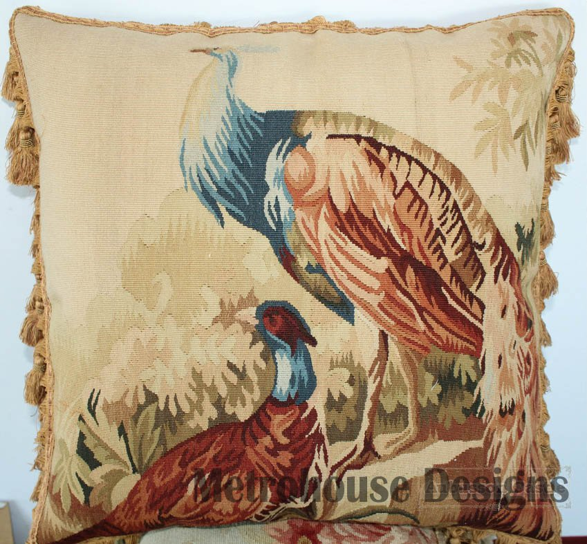 Pavone Tapestry Aubusson Accent Pillow