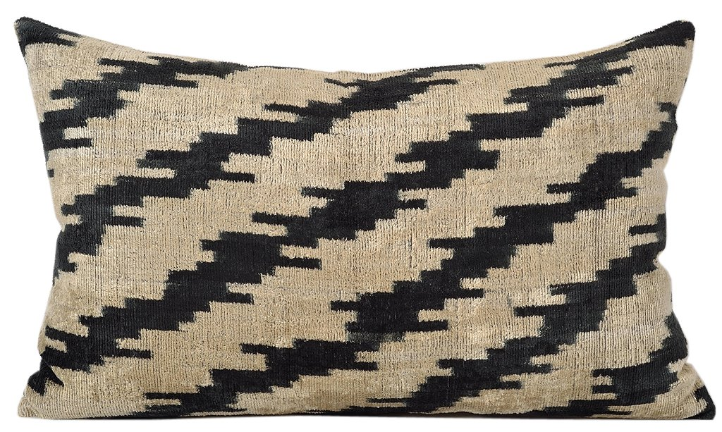 HAND LOOMED SILK IKAT VELVET PILLOW
