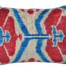 SILK VELVET IKAT PILLOW~RED,BLUE AND CREAM
