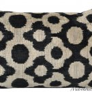 BLACK ON CREAM SILK VELVET IKAT PILLOW