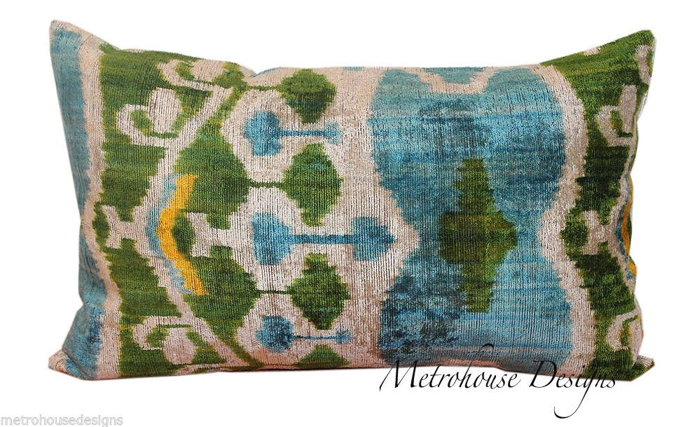 HAND SOFT VINTAGE SILK VELVET IKAT PILLOW