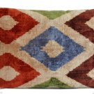 HAND SOFT SILK VELVET IKAT PILLOW