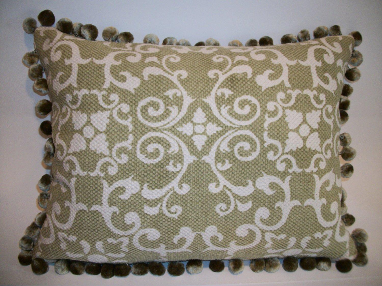 Custom made Celedon designer pillow with chenille ball fringe