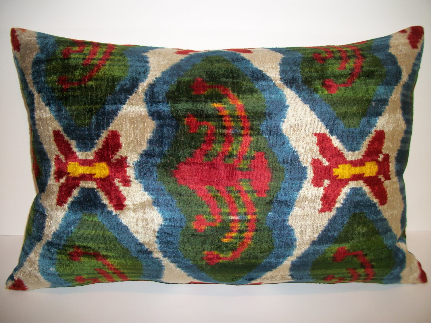 Silk Velvet Ikat Pillow ~ Avairy