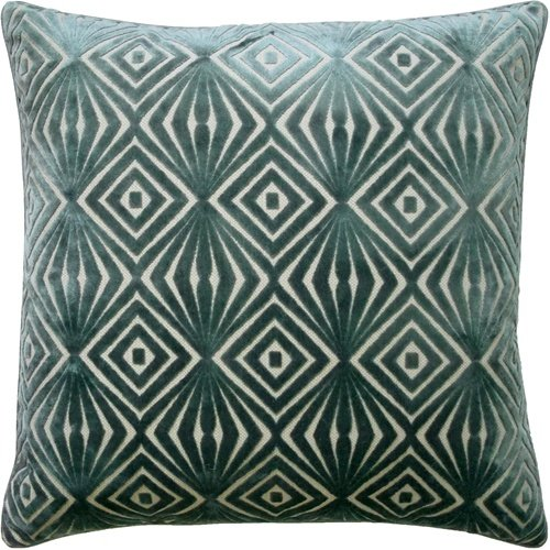 GEOMETRIC CUT VELVET DESIGNER ACCENT PILLOW ~COLOR: SPA