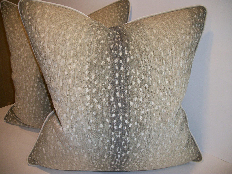 "Woven Antelope Pillow with Robert Allen ""Savoy Velvet"""