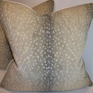 "Woven Antelope Pillow with Robert Allen ""Savoy Velvet"""