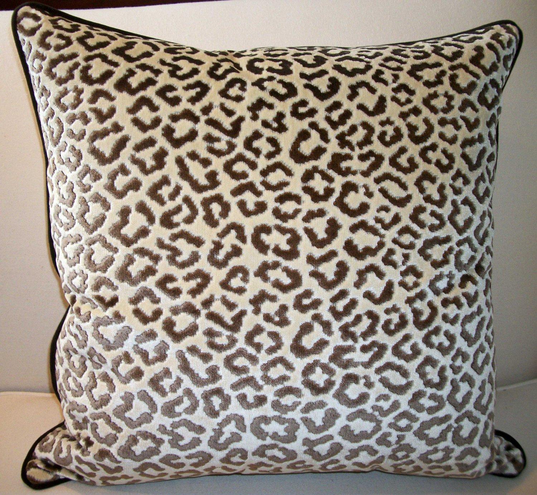 Pair Of High End Lee Jofa Velvet Leopard Pillows