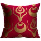 Red & Gold Silk Atlas Ottoman Pillows - A Pair