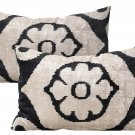 Pair Of Allary Silk Velvet Ikat Pillows
