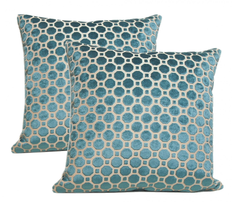 Pair Of Beacon Hill Teal Velvet Pillows