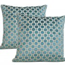 Pair Of Beacon Hill Teal Velvet Pillows