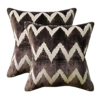 Pair Of Lee Jofa Belgium Velvet Accent Pillows ~ Brown