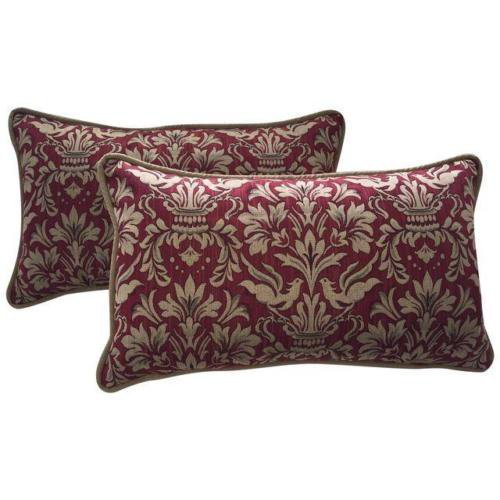 Pair Of Fortuny Style Designer Lumbar Pillows