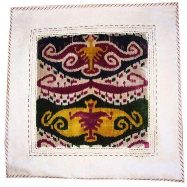 Large Vintage Cotton Silk Accent Pillow