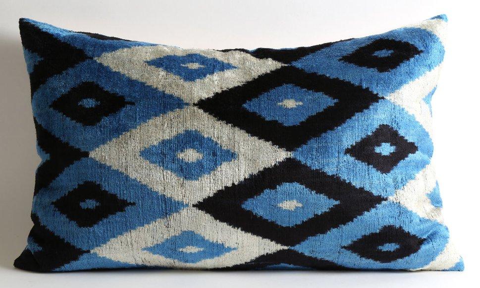 Silk Velvet Ikat Pillow
