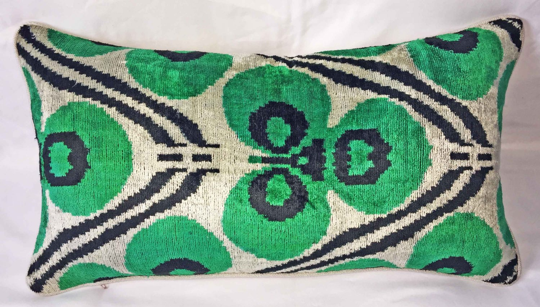 Custom Silk Velvet Ikat Pillow