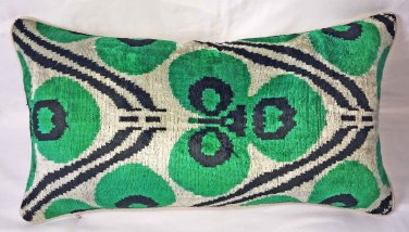 Custom Silk Velvet Ikat Pillow