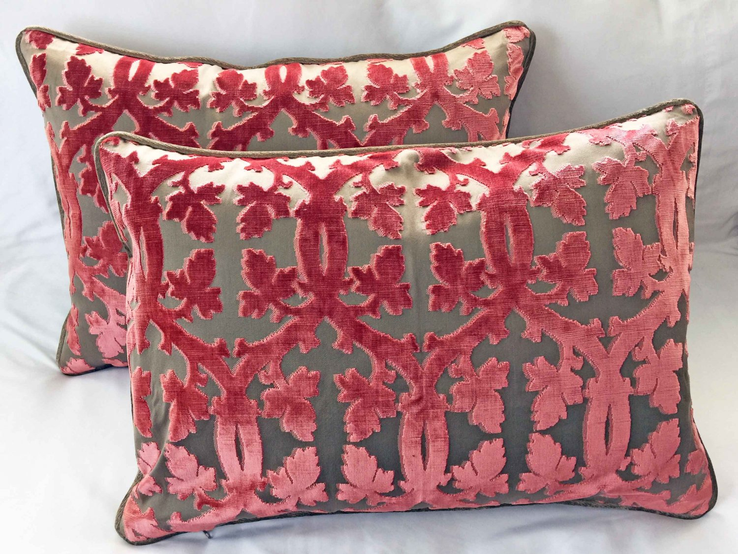 A Pair Of Scalamandre Falk Manor House Cut Velvet Bolster Pillows - Rose On Taupe