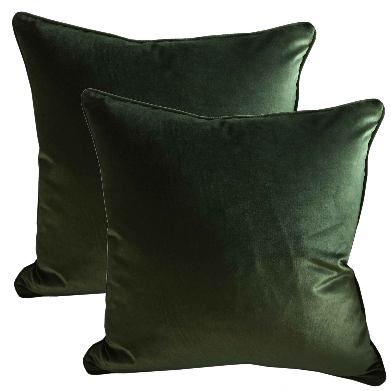 Pair Of Belgian Green Silk Velvet Accent Pillows - Set Of 2