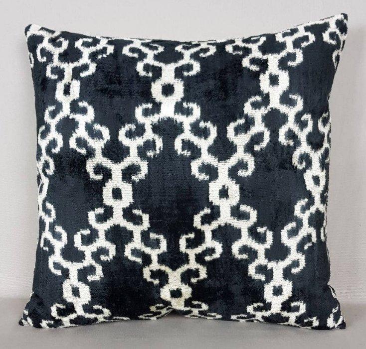 Graphite And Cream Silk Velvet Pillow