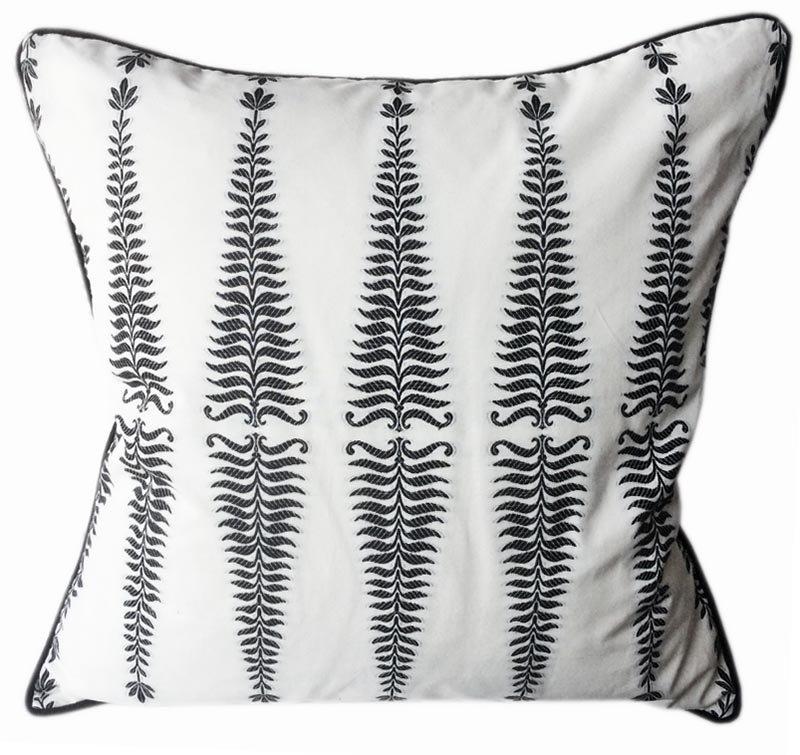 Noir/Cream Cotton Silk Fern Tree Designer Pillow