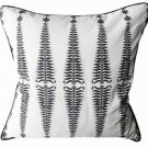 Noir/Cream Cotton Silk Fern Tree Designer Pillow