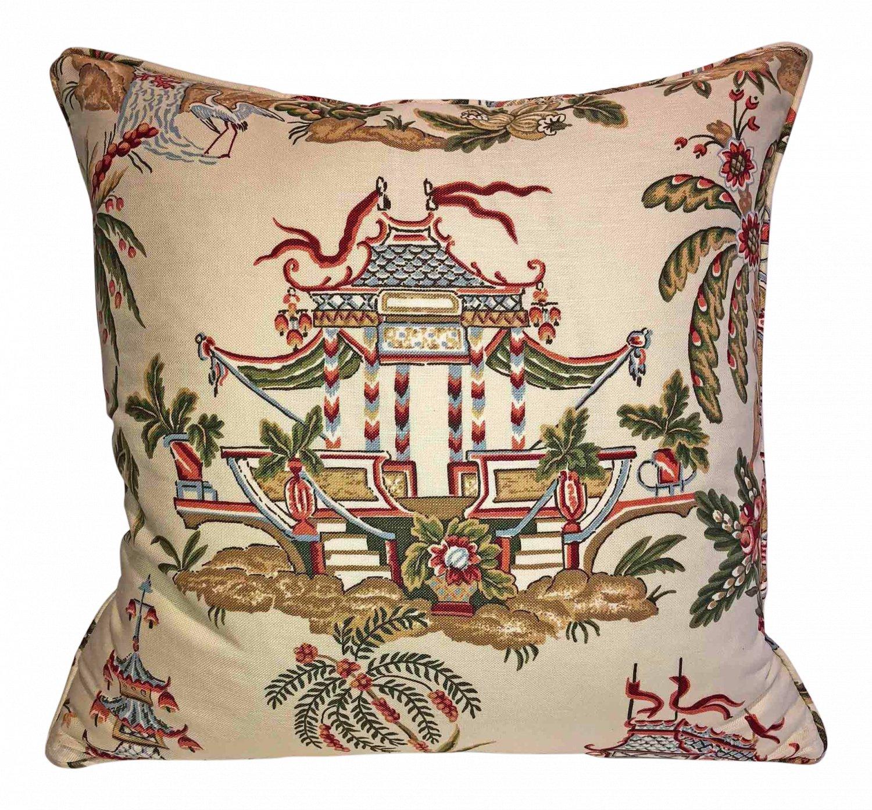 Sale! Thibaut Tea House Linen Chinoiserie Down Feather Pillow