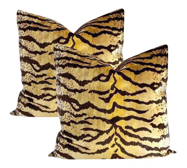 Velvet Tiger Pillows - Set of 2 ~ Down Feather Inserts Included.