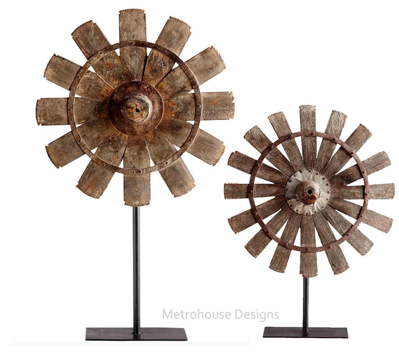 Rustic Wood & Iron Farmhouse Windmills - Set of 2