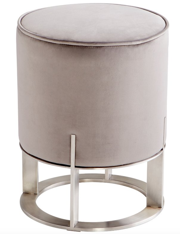 Reduced: Brush Stainless Steel And Gray Velvet Ottoman