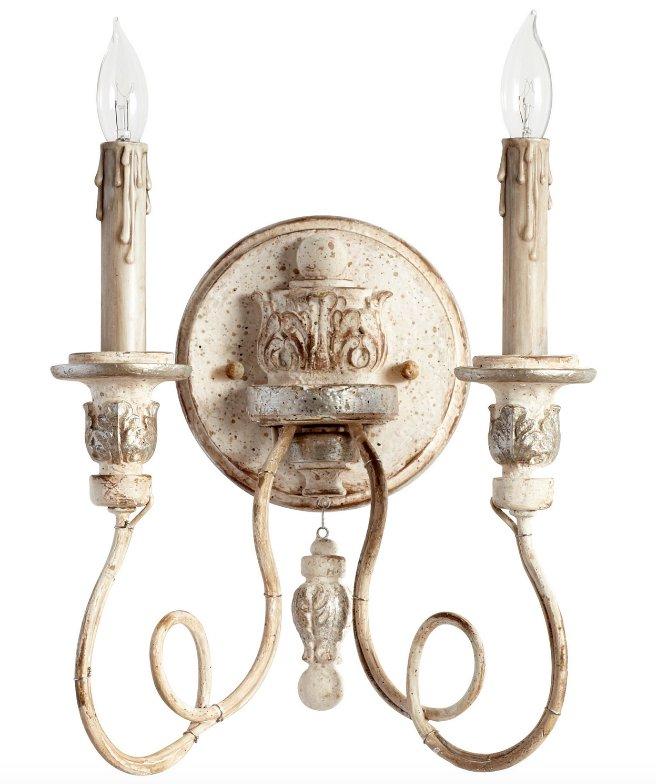 Reduced: Farmhouse Antique White & Silver Sconce