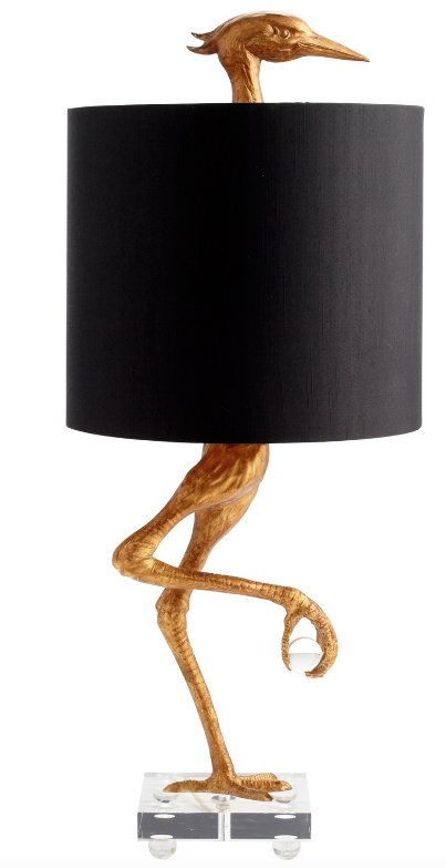 Ancient Gold Color Ibis Table Lamp