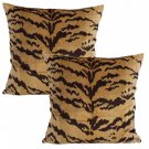 Nobilis of Paris From the Salambo Collection , Velvet Tiger Down Feather Accent Pillows - Set of 2