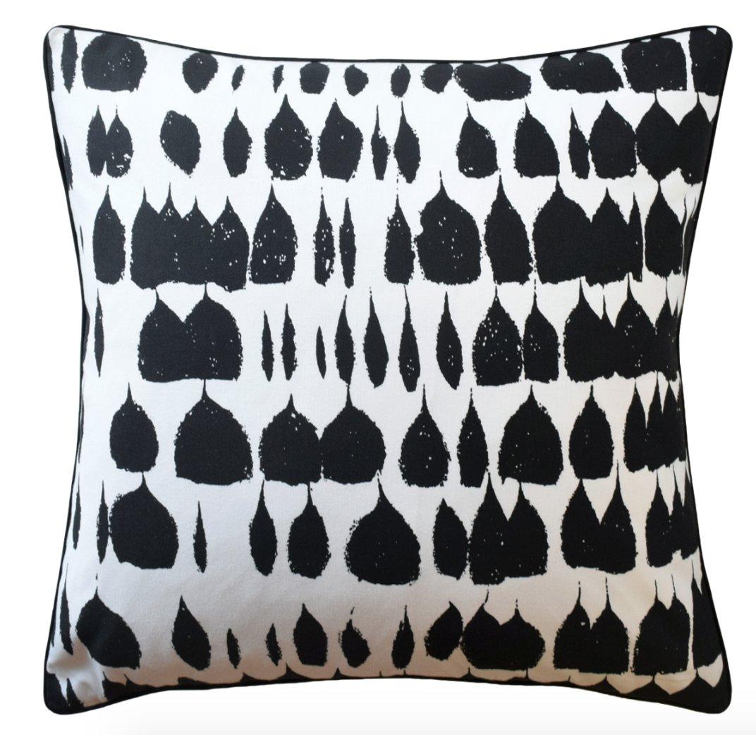 Black On White Designer Down Feather Pillow