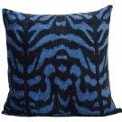30% off-Hand Loomed Navy Blue Animale Silk Velvet Euro Pillow