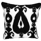 Black and White Ikat Accent Pillow