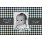 Blue Plaid Baby-Photo Announcements-100 Count