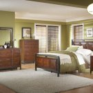 #914pn Skyline cherry and Pewter Panel Bedroom 4pc set
