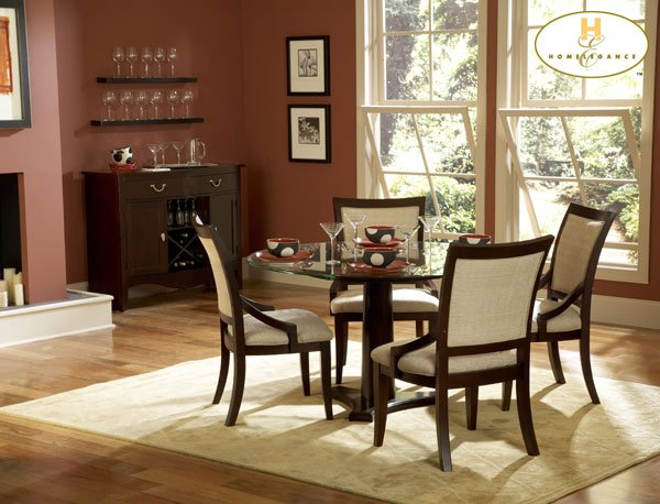 #1377-54  Bexley Round Glass Dinning Table set