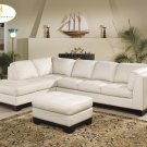 #9958IV Tufton Leather Sectional (Ivory)