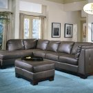 #9958BR Tufton Leather Sectional (Chocolate)