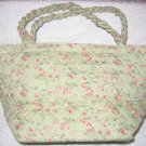 New Quilted Green and Pink Makeup Bag or Lunch Bag Tote