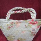 New Blue Quilted  Makeup Bag or Lunch Bag Tote decorated with Pink Roses