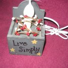 Primitive Country Small Wooden Box with Silicone Light Accent Lamp